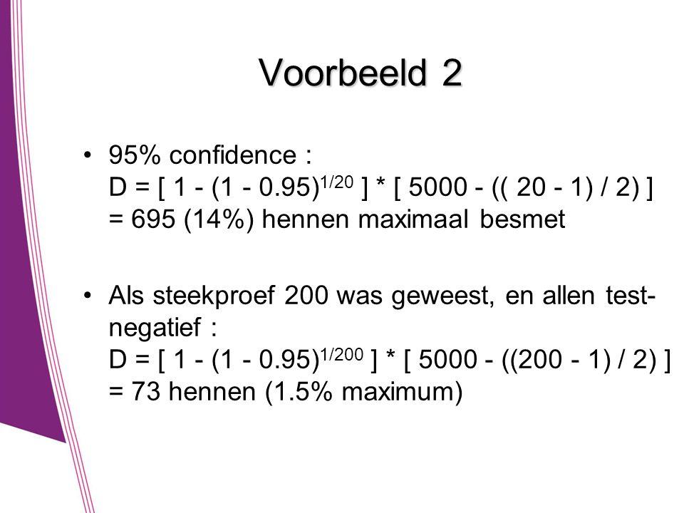 Voorbeeld 2 95% confidence : D = [ 1 - (1 - 0.95)1/20 ] * [ 5000 - (( 20 - 1) / 2) ] = 695 (14%) hennen maximaal besmet.